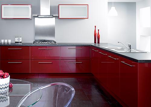 Reflection Burgandy Kitchen
